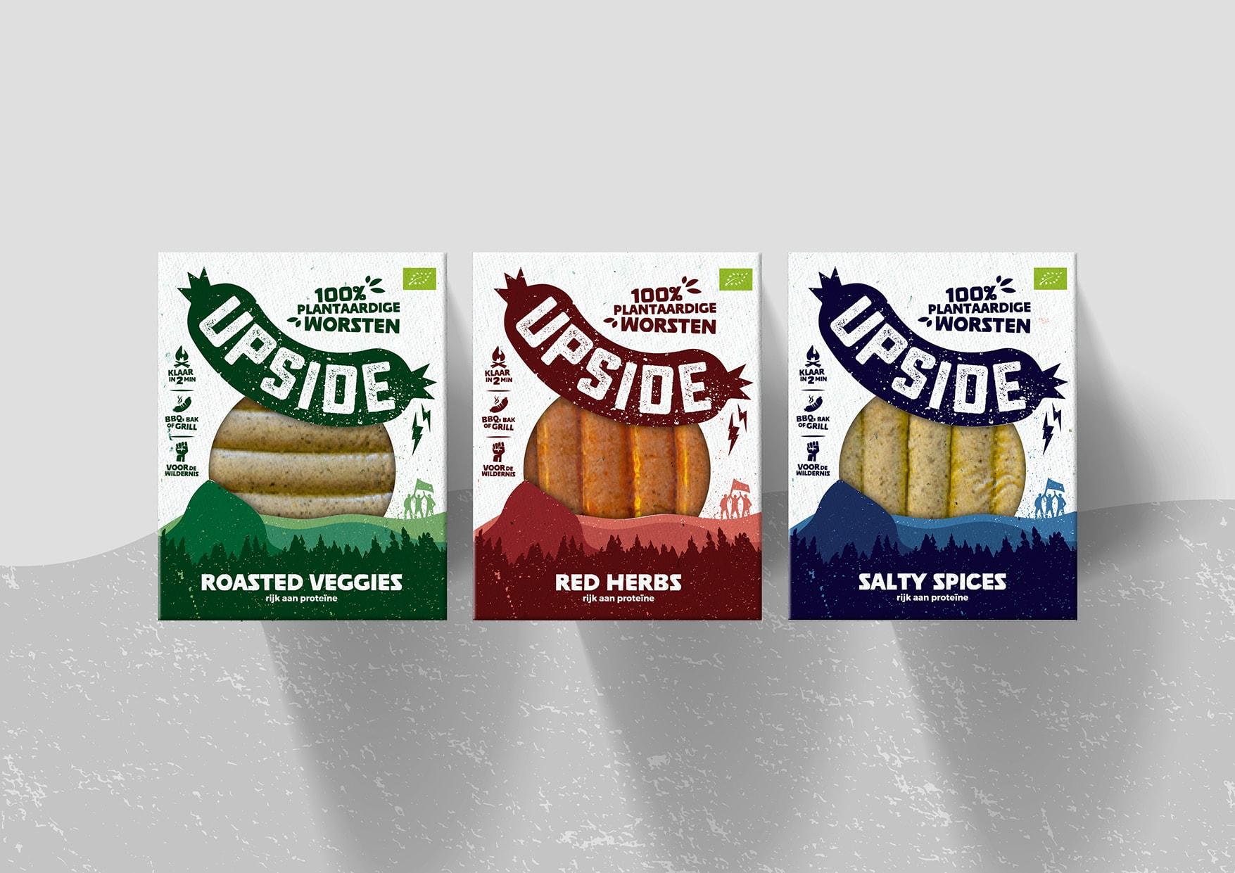 Packaging Design van de plantaardige worst Upside