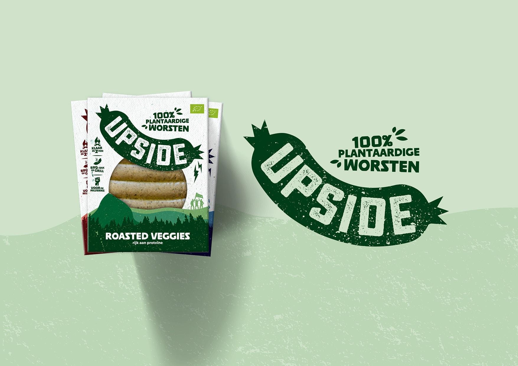 Verpakkingsontwerp van de plantaardige worst Upside