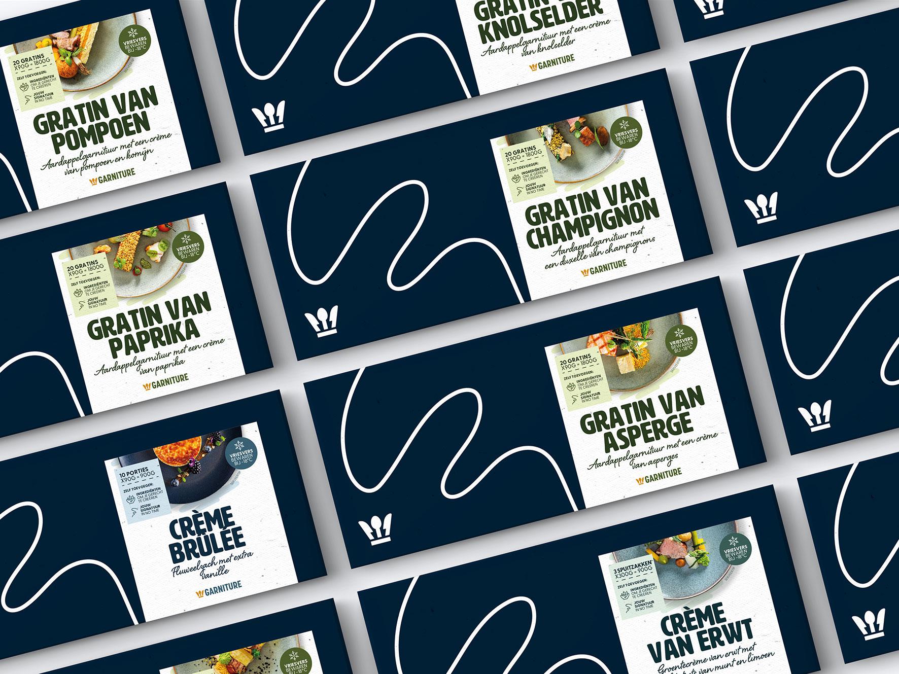 Packaging design van de verschillende productgroepen van een foodmerk voor foodservice